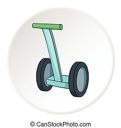 Segway icon, cartoon style - Segway icon in cartoon style on...