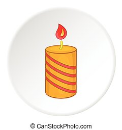Festive candle icon, cartoon style - Festive candle icon in...