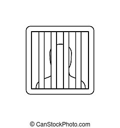 Prisoner behind bars icon, outline style