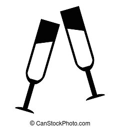 Two glasses of champagne icon, simple style