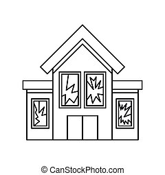 House with broken windows icon, outline style - House with...