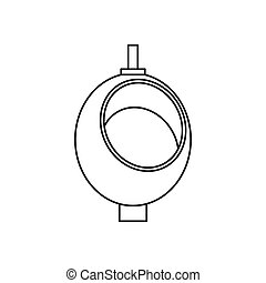 Urinal or chamber pot for men icon, outline style - Urinal...