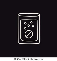 Tablet into glass of water sketch icon. - Tablet into glass...