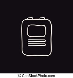 Heart defibrillator sketch icon. - Heart defibrillator...