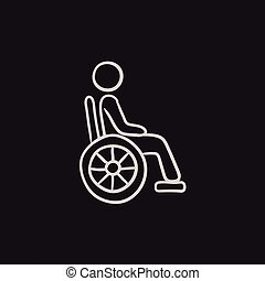 Disabled person sketch icon. - Disabled person vector sketch...