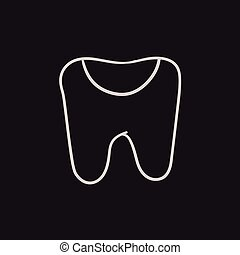 Tooth decay sketch icon. - Tooth decay vector sketch icon...