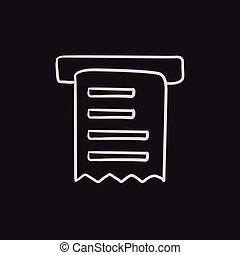 Receipt sketch icon. - Receipt vector sketch icon isolated...