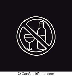 No alcohol sign sketch icon. - No alcohol sign vector sketch...