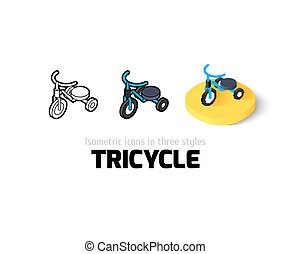 Tricycle icon in different style - Tricycle icon, vector...