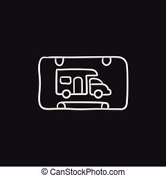 RV camping sign sketch icon. - RV camping sign vector sketch...