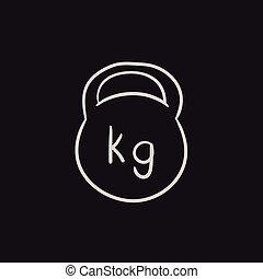 Kettlebell sketch icon - Kettlebell vector sketch icon...