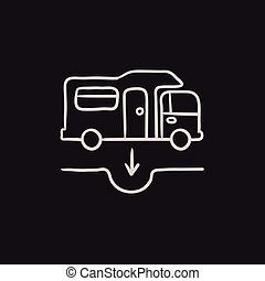 Motorhome and sump sketch icon - Motorhome and sump vector...
