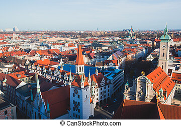 Beautiful super wide-angle sunny aerial view of Munich,...