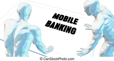 Mobile Banking Discussion and Business Meeting Concept Art