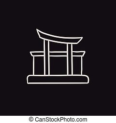 Torii gate sketch icon. - Torii gate vector sketch icon...