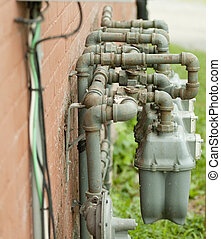 Gas meter pipes - twisted pipes of gas meters