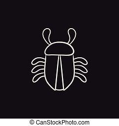 Computer bug sketch icon. - Computer bug vector sketch icon...