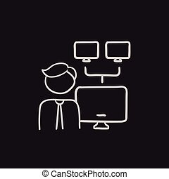 Network administrator sketch icon. - Network administrator...