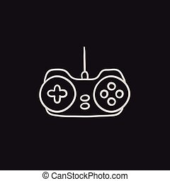 Joystick sketch icon - Joystick vector sketch icon isolated...