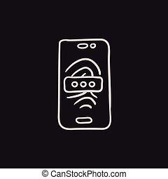 Mobile phone scanning fingerprint sketch icon. - Mobile...