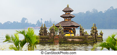Bali Temple - Panorama of beautiful Bali water temple at...