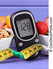 Glucometer with sugar level, healthy food and centimeter,...