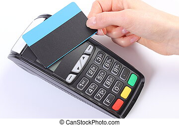 Using payment terminal with contactless credit card, finance...