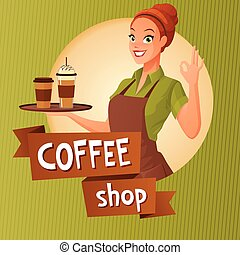 Barista waitress with cups coffee showing ok sign. Vector...