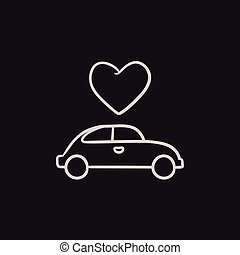 Wedding car with heart sketch icon.
