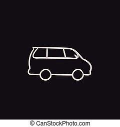 Minivan sketch icon. - Minivan vector sketch icon isolated...