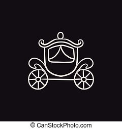 Wedding carriage sketch icon.
