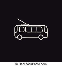 Trolleybus sketch icon. - Trolleybus vector sketch icon...