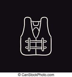 Life vest sketch icon. - Life vest vector sketch icon...