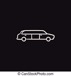 Wedding limousine sketch icon. - Wedding limousine vector...