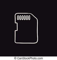 Memory card sketch icon. - Memory card vector sketch icon...