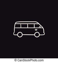 Minibus sketch icon. - Minibus vector sketch icon isolated...