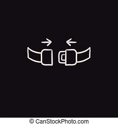 Seat belt sketch icon. - Seat belt vector sketch icon...