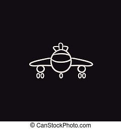 Airplane sketch icon - Airplane vector sketch icon isolated...