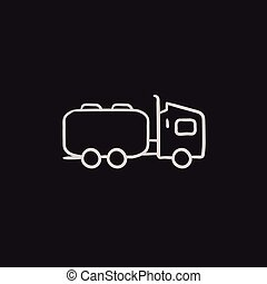 Truck liquid cargo sketch icon. - Truck liquid cargo vector...