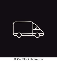 Delivery truck sketch icon. - Delivery truck vector sketch...