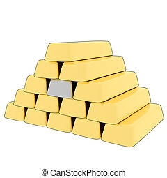 3D rendering gold/silver bars