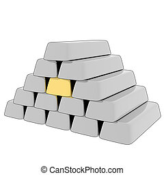 3D rendering silver/gold bars.