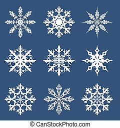 snowflakes - vector illustration of a set of New Year's...