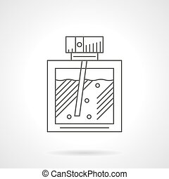 Perfumery flat line vector icon - Rectangular bottle with...