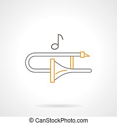 Trombone melody flat line vector icon - Trombone and one...