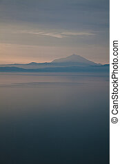 Mount Athos in the morning - Landscape of the sunrise over...