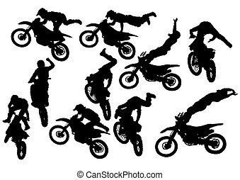 Flying biker on white background