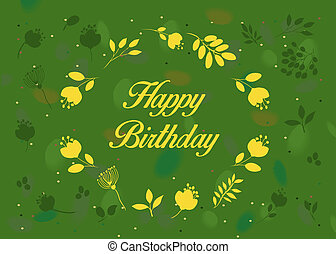 Happy birthday. Green floral card