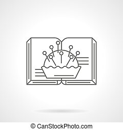 Book on needlework flat line vector icon - Open book and...