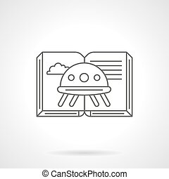 Science fiction book flat line vector icon - Open book with...